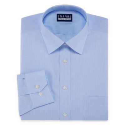 Stafford All Season Coolmax Long Sleeve Woven Checked Dress Shirt Big and Tall