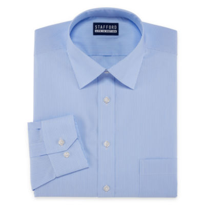 Stafford All Season Coolmax Long Sleeve Woven Stripe Dress Shirt
