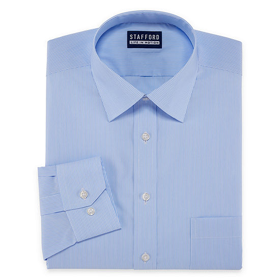 Stafford All Season Coolmax Mens Point Collar Long Sleeve Stretch Cooling Dress Shirt