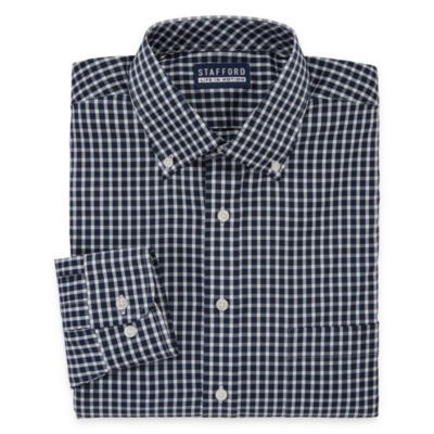 Stafford Poly Span Long Sleeve Woven Checked Dress Shirt