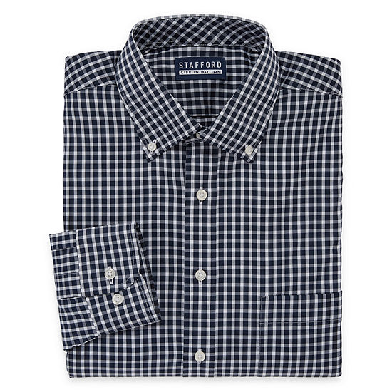 Stafford Poly Span Long Sleeve Woven Checked Dress Shirt