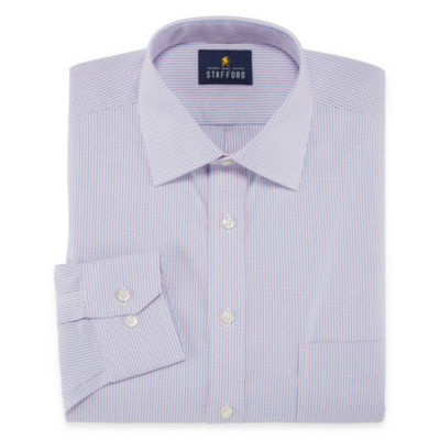 Stafford Executive Non-Iron Cotton Pinpoint Oxford Long Sleeve Pattern Dress Shirt