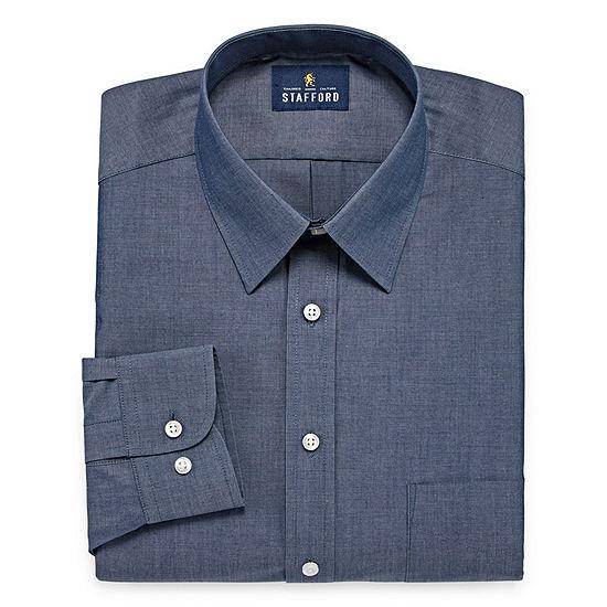 Stafford Travel Performance  Super Shirt Mens Point Collar Long Sleeve Wrinkle Free Stretch Dress Shirt