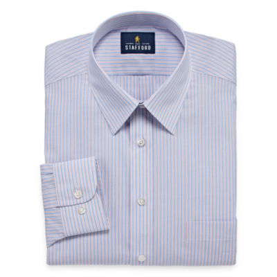 Stafford Travel Performance  Super Shirt Long Sleeve Broadcloth Floral Dress Shirt