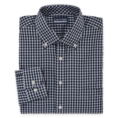 Stafford Poly Span Big And Tall Long Sleeve Woven Checked Dress Shirt