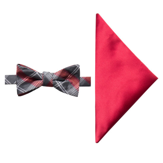 JF J.Ferrar Plaid Bow Tie Set