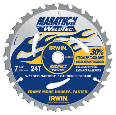 """Irwin Marathon 24035 7-1/4"""" 24 Tpi Marathon¨ WithWeldtec Circular Saw Blade"""""""