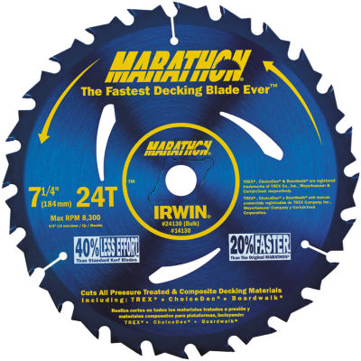 "Irwin Marathon 14130 7-1/4"" 24 Tooth Portable Corded Circular Saw Blades"""