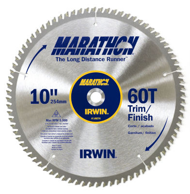 """Irwin Marathon 14074 10"""" 60 Tpi Marathon¨ Miter &Table Saw Blades"""""""