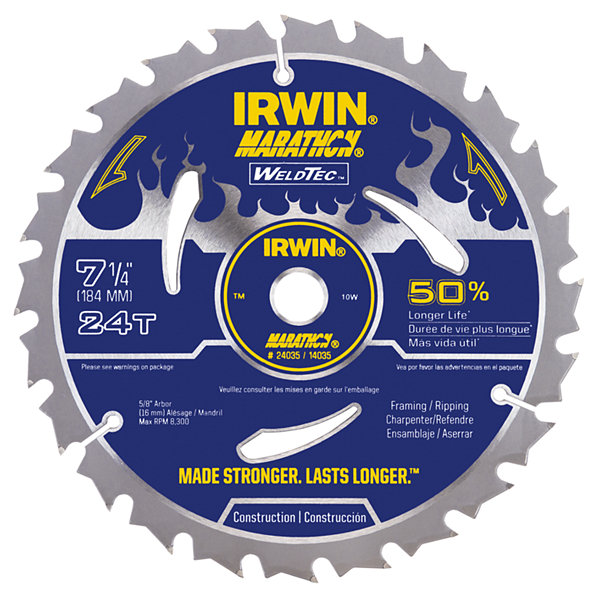 "Irwin 14035 7-1/4"" 24 Tooth Welded Carbide Circular Saw Blade"""