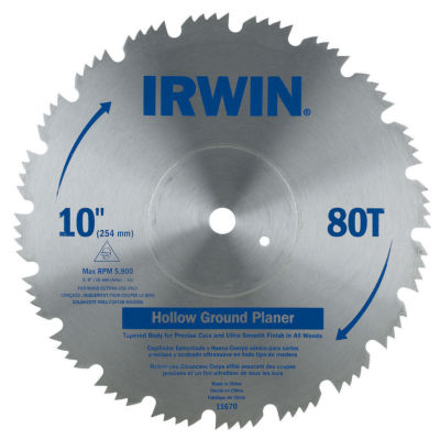 """Irwin 11670 10"""" Steel 80 Tooth Hollow Ground Planer Saw Blade"""