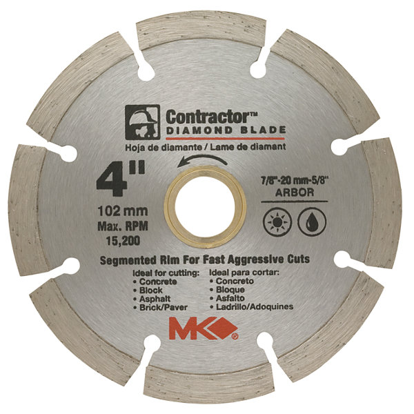 "Mk Diamond 167011 4"" Contractorª Diamond Blade"""