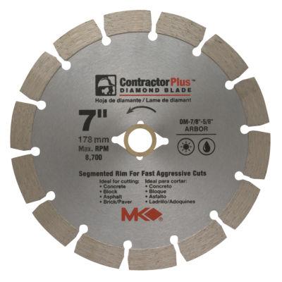 """MK Diamond 166991 7"""" Contractor Plus Diamond Blade"""