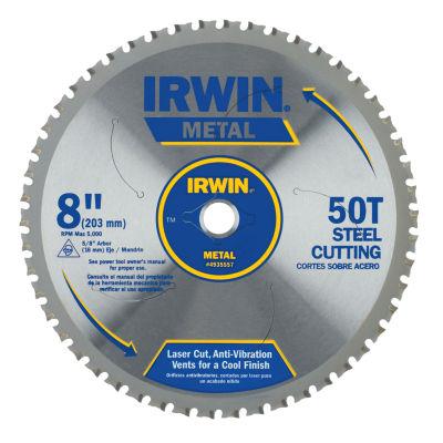 "Irwin 4935557 8"" Carbide 50 Tooth Metal Cutting Circular Saw Blade"