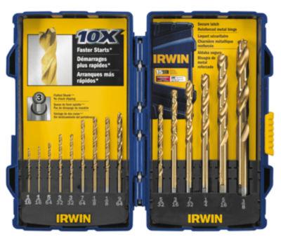 Irwin 3018009 Titanium Nitride Turbomax Pro Drill Bit 15 Piece Set