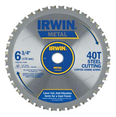 "Irwin 4935554 6-3/4"" 40 Tooth Carbide Metal Cutting Circular Saw Blade"