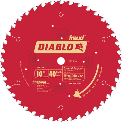 "Diablo D1040X 10"" 40T Diablo General Purpose Chop Miter And Table Saw Blade"