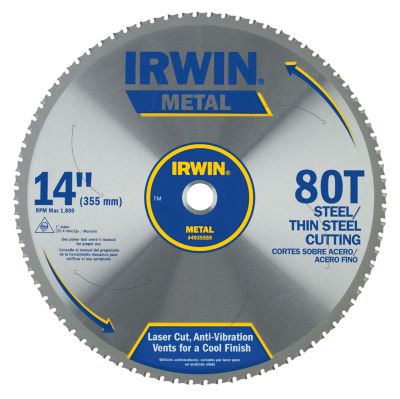 "Irwin 4935559 14"" 80 Tooth Carbide Metal Cutting Circular Saw Blade"
