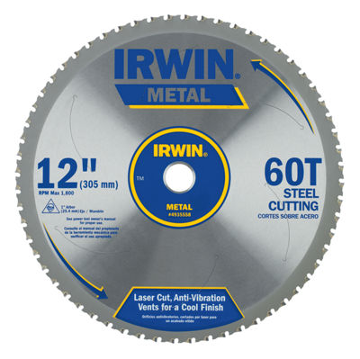 "Irwin 4935558 12"" 60 Tooth Carbide Metal Cutting Circular Saw Blade"