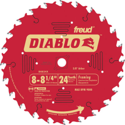 Diablo D0824X 8-1/4IN 24T Diablo Circular Saw Framing Blade