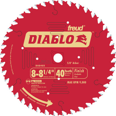 Diablo D0840X 8-1/4IN 40T Diablo Finish Work Circular Saw Blade
