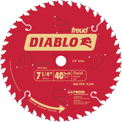"Diablo D0740X 7-1/4"" 40T Diabloª Finish Work Circular Saw Blade"""
