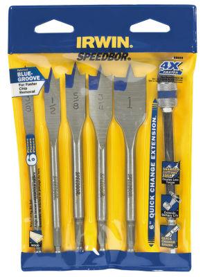 """Irwin 88898 6"""" Speedbor Blue Groove Spade Bit Set6 Count"""""""