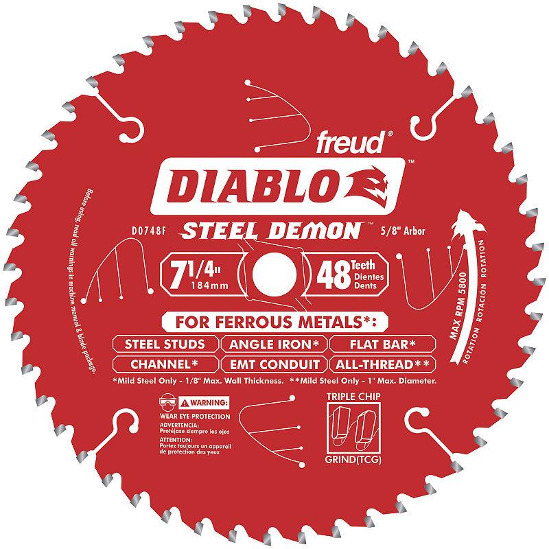 Diablo D0748F 7-1/4IN 48 Tpi Ferrous Metal CuttingCircular Saw Blade, Multi, One Size