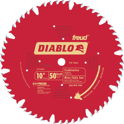 "Diablo D1050X 10"" 50T Diabloª Combination Chop Miter & Table Saw Blade"