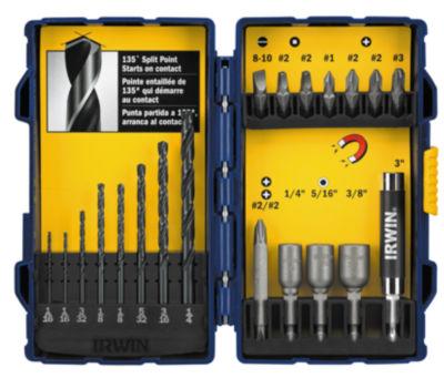 Irwin 357020 Steel Fastener Drive Tool & Drill Bit Set 20 Count