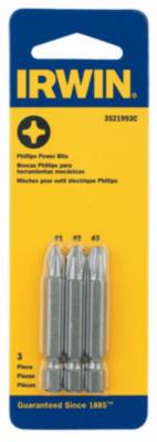 """Irwin 3521993C 1-15/16"""" Philips Head Power Bit Set 3 Count"""