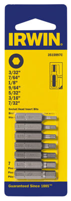 "Irwin 3515997C 1-1/4"" Hex Bit Set 7 Count"