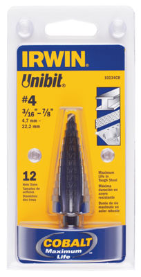 Irwin 10234 #4 Unibit Drill Bit 12 Hole Sizes