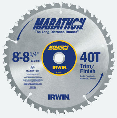 "Irwin Marathon 14053 8-1/4"" 40T Miter & Table Saw Blades"""