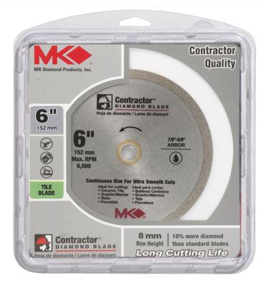 "Mk Diamond 167566 6"" Continuous Rim Wet Tile Blade"