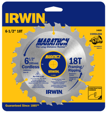 "Irwin Marathon 14020 6-1/2"" 18T Marathon Cordless Circular Saw Blade"