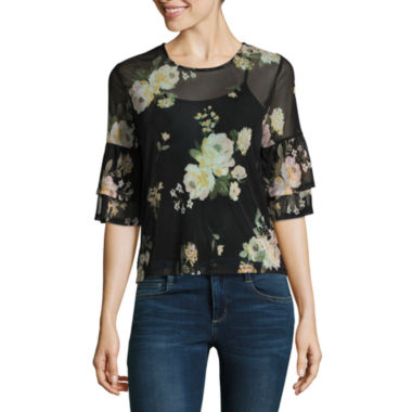 Almost Famous Elbow Sleeve Scoop Neck Mesh Ruffled Blouse-Juniors