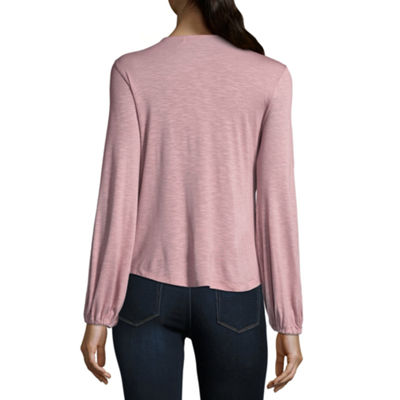 Living Doll Long Sleeve Crew Neck Knit Blouse-Juniors