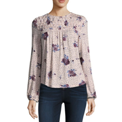 Living Doll Long Sleeve Crew Neck Knit Floral Blouse-Juniors