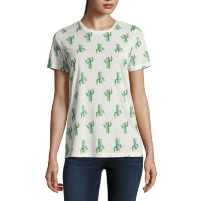 Short Sleeve Cactus Crew Neck Graphic T-Shirt- Juniors