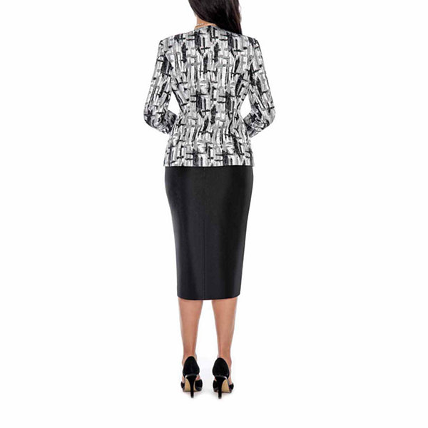 Giovanna Collection Black and Silver Print Fabric Combo 3-piece Skirt Suit