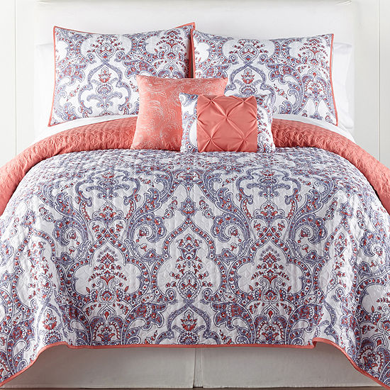 Home Expressions Zailey 5-pc. Damask + Scroll Quilt Set