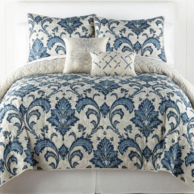 Home Expressions Austen 5-pc. Damask + Scroll Quilt Set