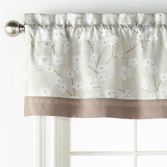 JCPenney Home Japanese Cherry Blossom Rod-Pocket Tailored Valance