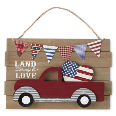 JCPenney Home Americana Red Truck Wall Sign