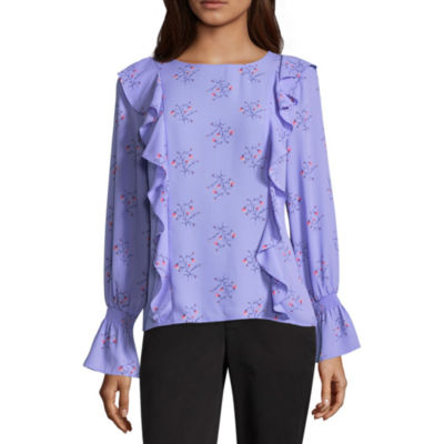 Liz Claiborne Smocked Sleeve Ruffle Floral Blouse