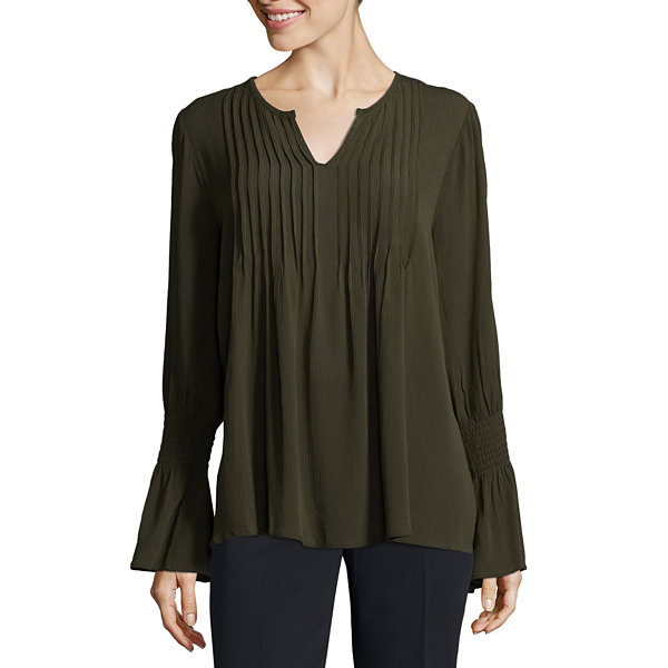 Liz Claiborne Smocked Bell Sleeve Pleated Blouse