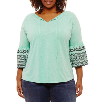 St. John's Bay® 3/4 Embroidered Bell Sleeve Peasant Blouse - Plus