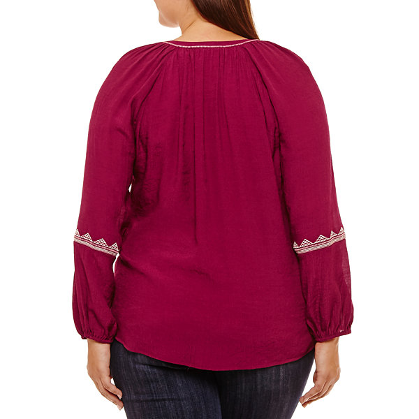 St. John's Bay® Long Sleeve Tie Front Embroidered Peasant Blouse-Plus