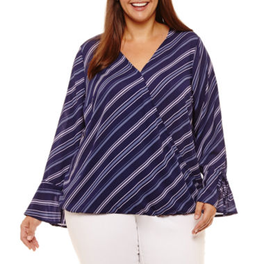 Liz Claiborne Long Sleeve Wrap Shirt- Plus